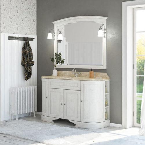 mueble de lavabo suspendido / de madera / clásico / con espejo