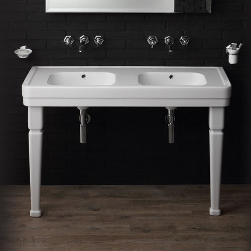 lavabo doble / sobre encimera / rectangular / de cerámica