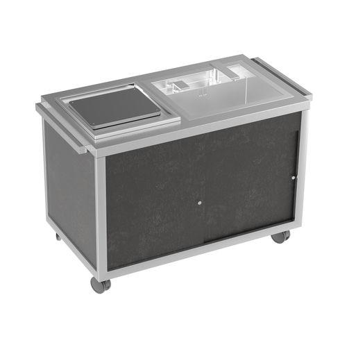 mesa de preparación de acero inoxidable / móvil / con fregadero / profesional