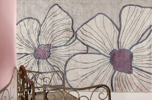 alfombra moderna / de flores / de viscosa / rectangular