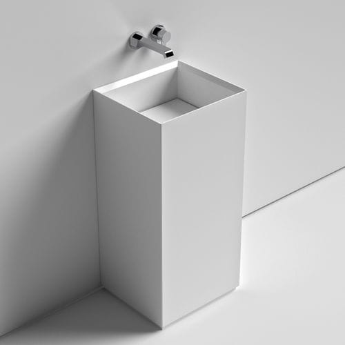 lavabo de pie / cuadrado / de cerámica / moderno