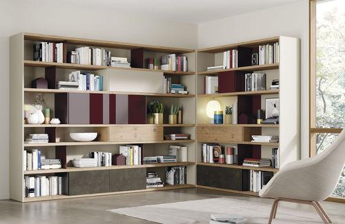 biblioteca modular / alta / de esquina / moderna