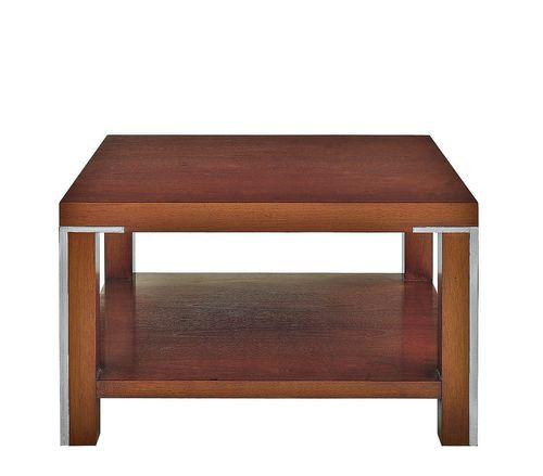 mesa de centro moderna / de nogal / de acero inoxidable / cuadrada