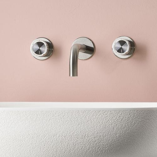 grifo mezclador para lavabo / de pared / de acero inoxidable / de baño