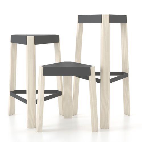 taburete contemporáneo / de madera / blanco