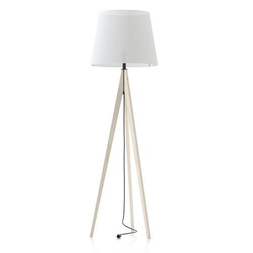 lámpara de pie / contemporánea / de madera / de tejido