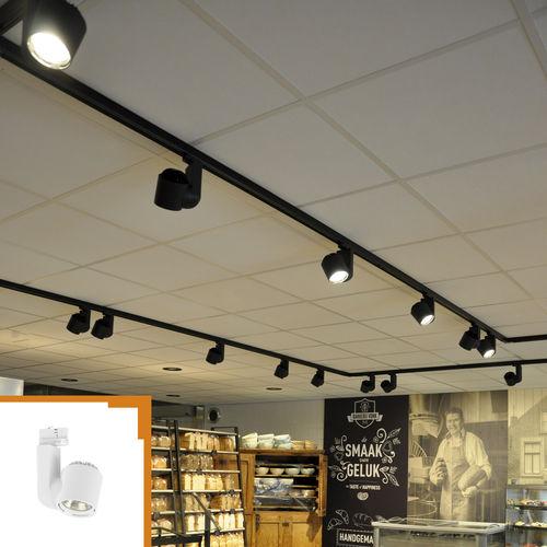 iluminación sobre riel LED / redonda / de aluminio / para el sector servicios