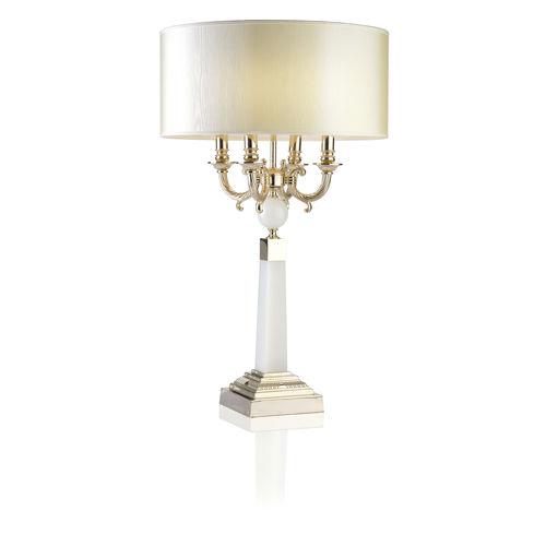 lámpara de mesa / clásica / de latón pulido / de tejido