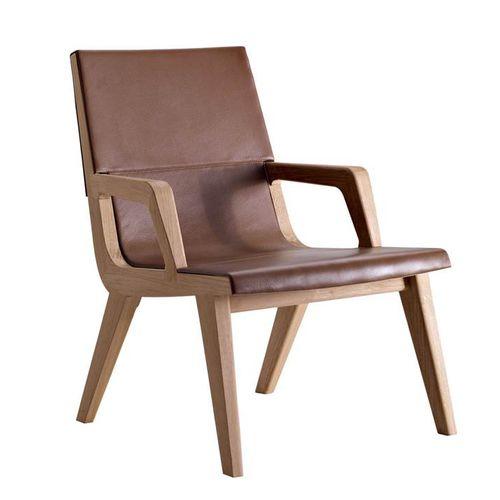 sillón contemporáneo / de roble / de tejido / de cuero