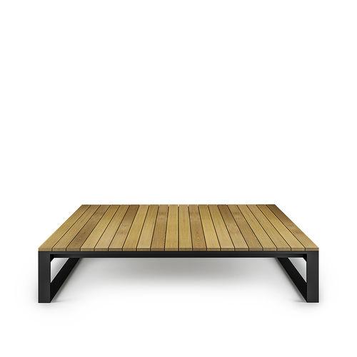 mesa de centro de jardín / moderna / de teca / de acero inoxidable
