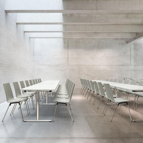 mesa de conferencia contemporánea / de chapa de madera / de HPL / de metal cromado