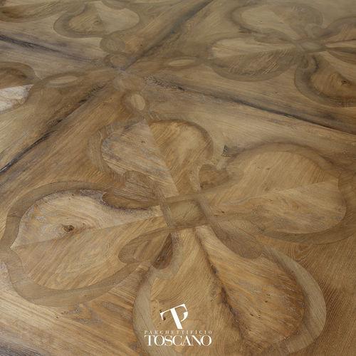 parquet macizo / para pegar / aceitado / con incrustaciones de madera