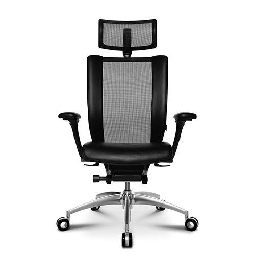 sillón de oficina contemporáneo / de malla / de cuero / de aluminio