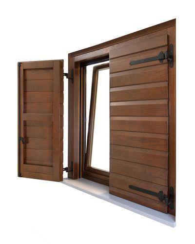 contraventana abatible / corredera / de madera / para ventana