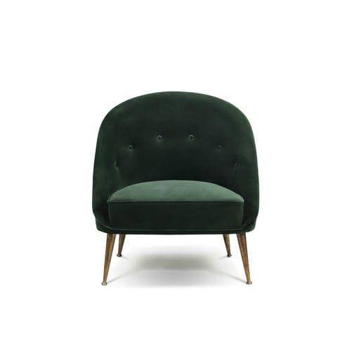 sillón contemporáneo / de terciopelo / de latón / verde