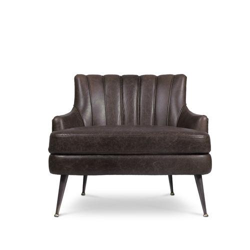 sillón bajo contemporáneo / de cuero / de latón / marrón