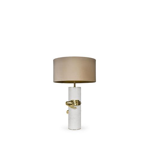lámpara de mesa / contemporánea / de latón pulido / de tejido