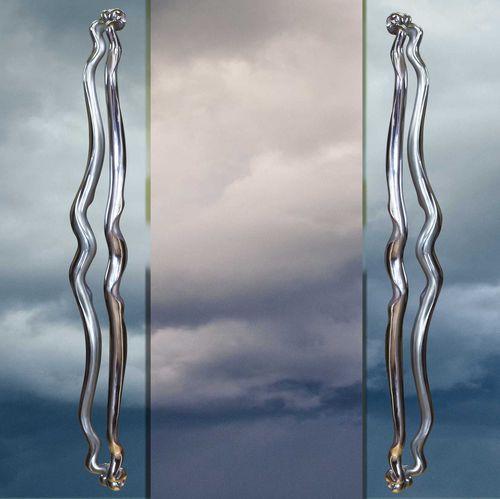 tirador de puerta para puerta de cristal / de acero inoxidable / contemporáneo