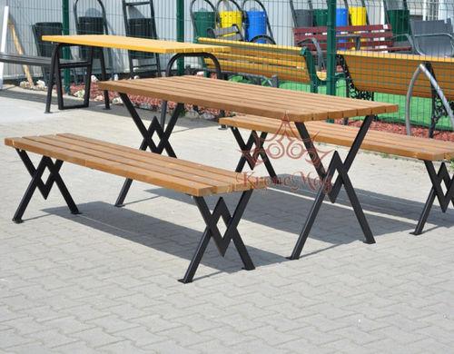 conjunto de mesa y banco contemporáneo / de madera / de acero / de jardín