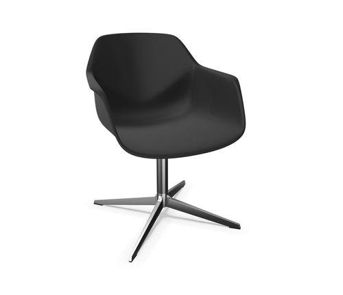 sillón contemporáneo / de aluminio / de biocompuesto / giratorio