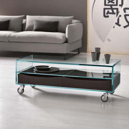 mesa de centro moderna / de cerezo / de vidrio / de cuero