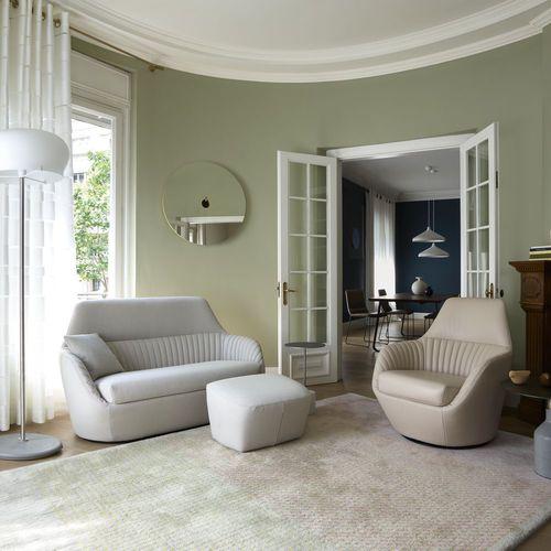 sofá moderno / de cuero / 2 plazas / con revestimiento removible