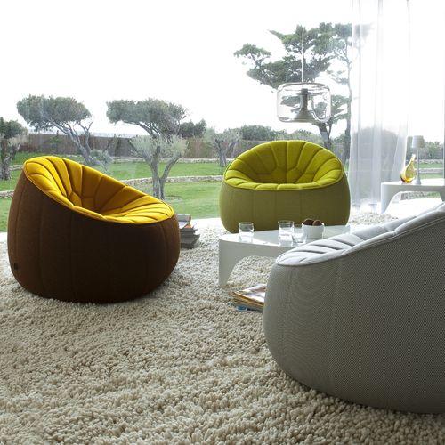 sillón de diseño original / de tejido / con funda extraíble / giratorio