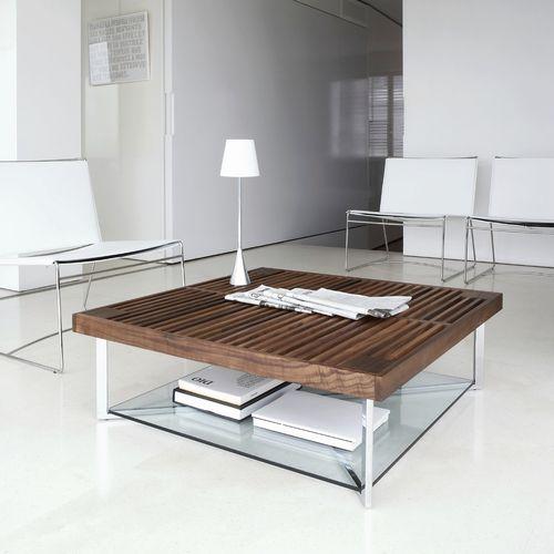 mesa de centro moderna / de nogal / de vidrio templado / de acero cromado