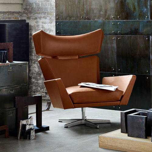 sillón contemporáneo / de cuero / de aluminio pulido / con patas en forma de estrella