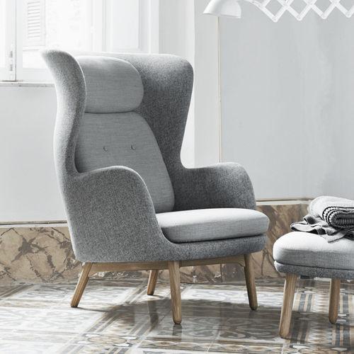 sillón contemporáneo / de tejido / aluminio / con orejas