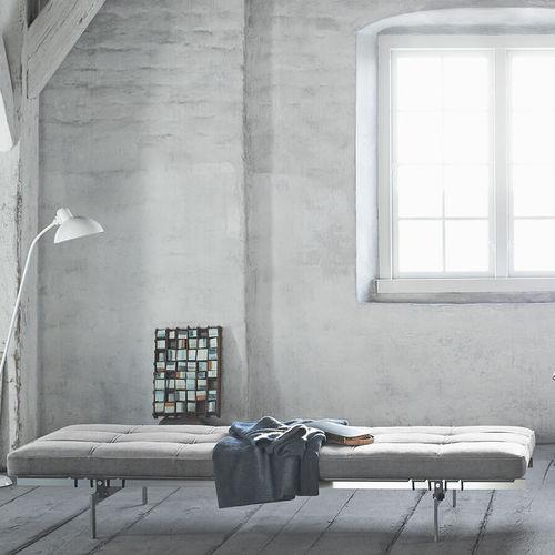 cama de día contemporánea / de tejido / de cuero / de acero inoxidable cepillado