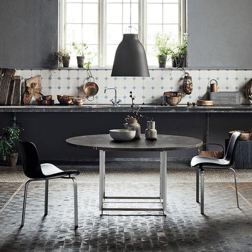 mesa contemporánea / de acero inoxidable cepillado / de mármol / de granito