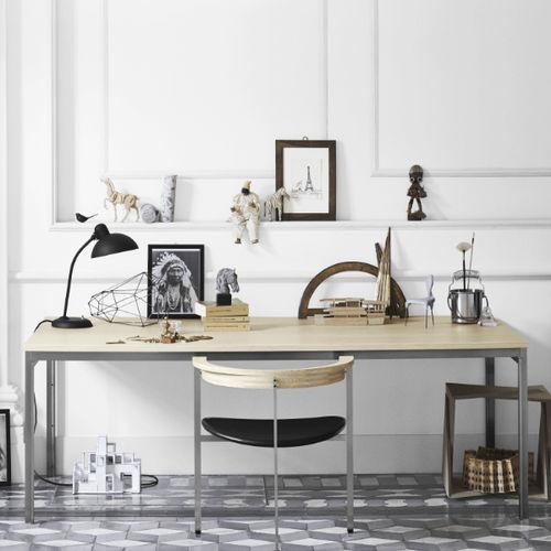 mesa contemporánea / de fresno / de acero inoxidable cepillado / con base de acero inoxidable