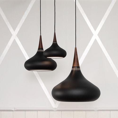 lámpara suspendida / contemporánea / de aluminio / de palo de rosa