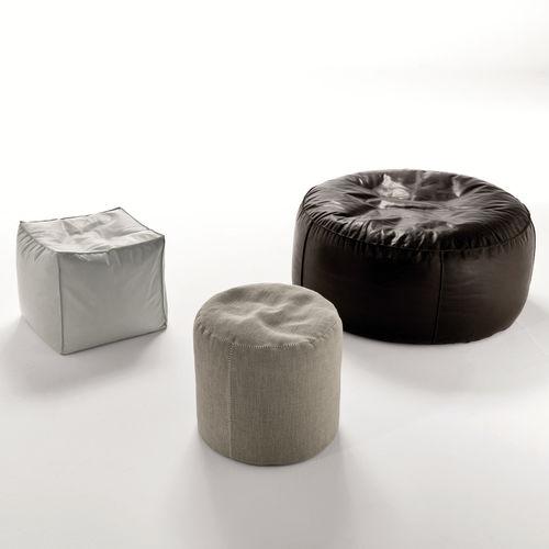 puf contemporáneo / de tejido / de cuero / redondo