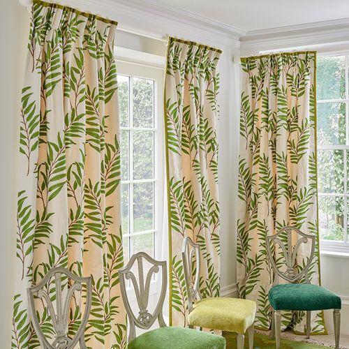 tela para cortinas / de flores / de algodón / de lino