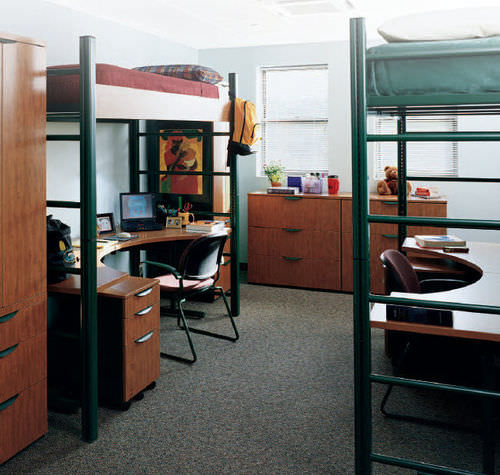 cama alta / individual / moderna / con estantes