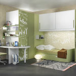 habitación para niños blanca / verde / de madera lacada / de aluminio lacado