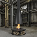 estufa de leña / central / de acero inoxidable / contemporánea