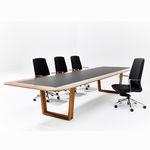 mesa de reuniones contemporánea / de madera / con base de aluminio / rectangular