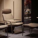 sillón moderno / de tejido / de cuero / de metal