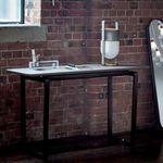 mesa contemporánea / de madera / de mármol / con base de madera