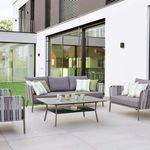 sofá clásico / de exterior / de tejido / aluminio