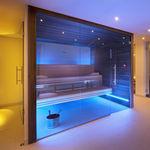 sauna finlandesa / para el sector servicios / de madera / de vidrio templado