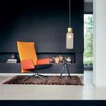 sillón moderno / de tejido / de cuero / aluminio