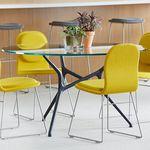 mesa de reuniones contemporánea / de madera / de vidrio / con base de aluminio