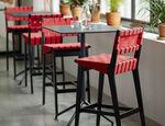 silla de bar contemporánea / tapizada / de algodón / Sunbrella®