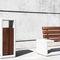 cubo de basura público / de madera / de hormigón / contemporáneo