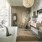 baño contemporáneo / de roble blanqueado / de Corian®