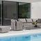 mesa de centro moderna / de acero inoxidable / rectangular / de jardín